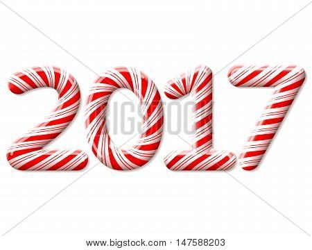 New Year 2017 in shape of candy stick isolated on white. Year number as striped holiday candies. Vector design element for christmas new years day sweet-stuff winter holiday new years eve food