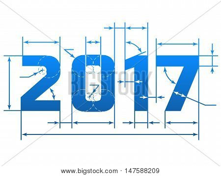 New Year 2017 number with dimension lines. Element of blueprint drawing in shape of 2017 year. Vector design element for new years day christmas winter holiday engineering new years eve etc