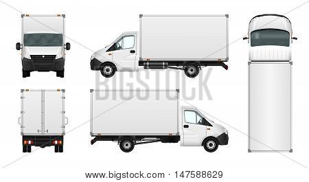 Cargo van vector illustration on white. City commercial minibus template. Isolated delivery vehicle.