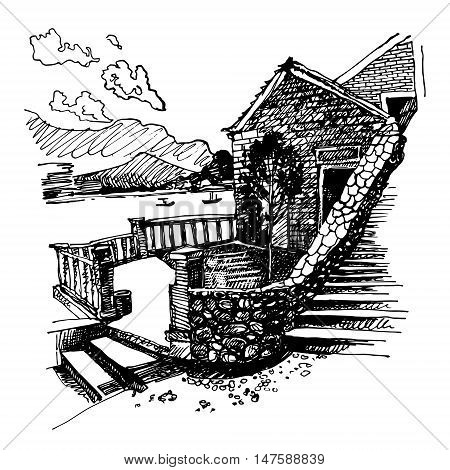 original black and white ink sketch drawing of ancient fort in Petrovac Montenegro, Balkans, Adriatic sea, Europe, vintage touristic postcard, travel vector illustration