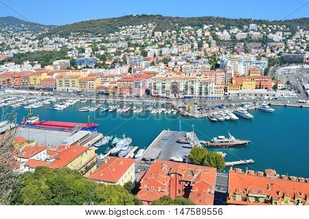 Nice France. View of the port from the Castle Hill