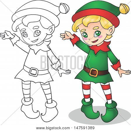 Christmas elf cute and smiling vector illustration, outline for coloring book
