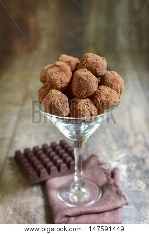 Homemade Chocolate Truffles In A Glass.