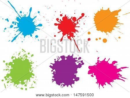 Colorful paint splatters.Paint splashes set. Vector illustration