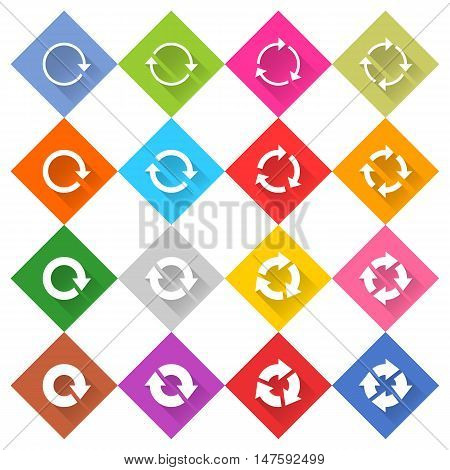 Flat arrow icon 16 set rounded rh ombusweb button on white background. Refresh reload synchronize loop reset rotation repeat sugn. Vector illustration internet design graphic element 10 eps