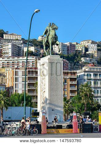 NAPLES, ITALY - OCTOBER 4, 2015. Armando Diaz monument, seafront Francesco Caracciolo, on the shore of Mediterranean sea.