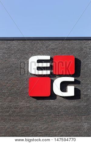 Skejby, Denmark - September 13, 2016: EG is a Scandinavian Information Technologies group headquartered in Denmark that focuses on industry