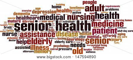 Senior health word cloud concept. Vector illustration