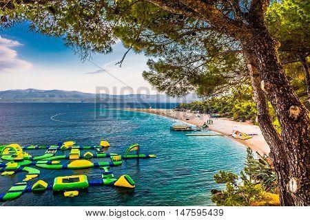 Famous croatian beach Golden Cape (Zlatni Rat), Island of Brac, Croatia summertime.