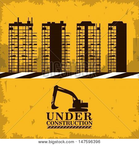 Hydraulic excavator and building icon. Under construction and repair theme. grunge design. Vector illustration