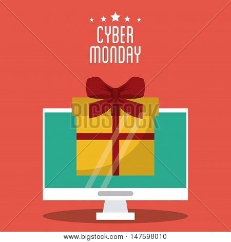 Gift and computer icon. Cyber Monday ecommerce and market theme. Colorful design. Vector illustration