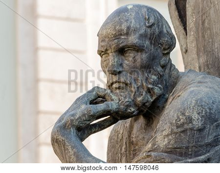 Statue of socrate from the Savona Italy. Most famous philosopher of antique Greece.