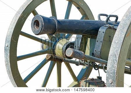 Ancient wheeled cast iron cannon isolated on white background
