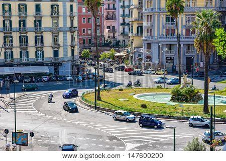 NAPLES, ITALY - OCTOBER 4, 2015. Building in Naples Viale Antonio Gramsci and Sannazzaro Square.