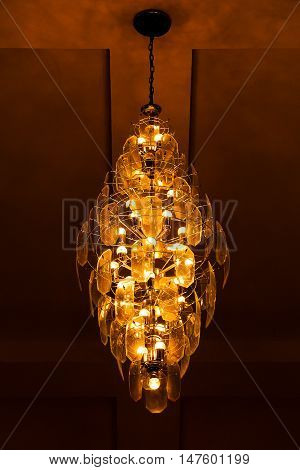 Chrystal chandelier close up. Glamour background with copy space
