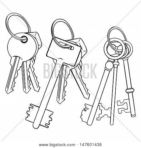 Vector Lineart Bunches Of Keys