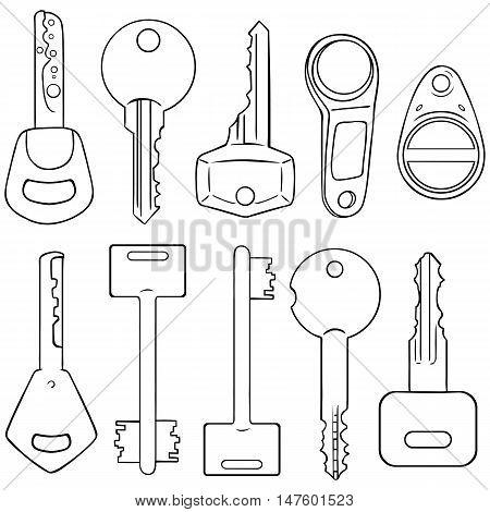Vector Set Of Lineart Modern Keys