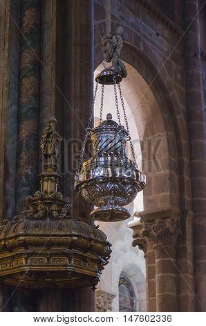 Thurible In Santiago De Compostela Cathedral Botafumeiro