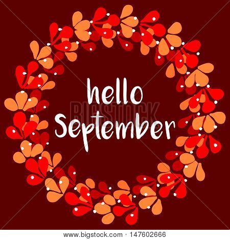 Hello september floral wreath autumn vector card