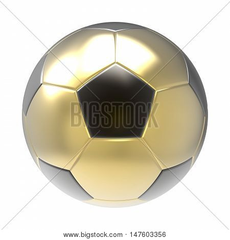 Gold Soccer ball 3D render isolated on white