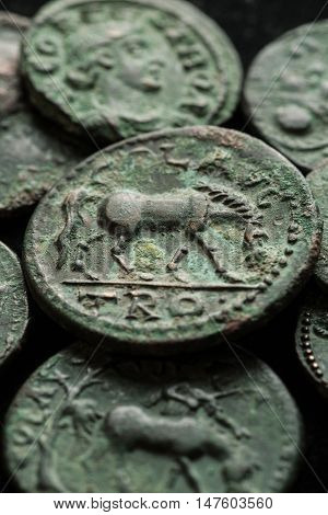 Ancient Roman Copper Coins In Green Patina
