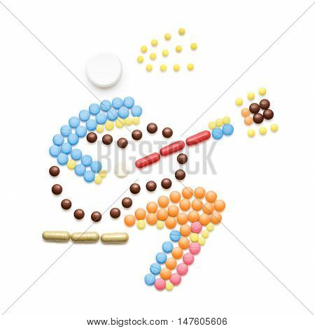 Creative health concept made of drugs and pills isolated on white. A person sneezes and spreads disease while playing the guitar.