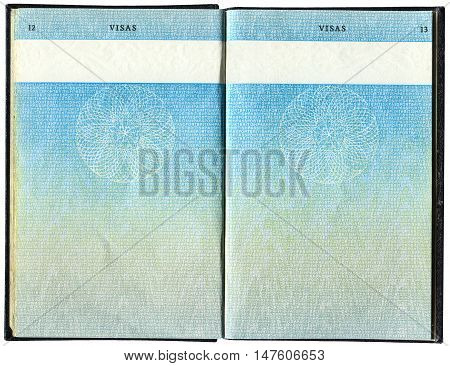 LONDON, UK - OCTOBER 14 2014: Pages for visas marks in the old British Passport as background