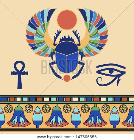 Scarab. Egyptian icons. Egyptian pattern. Vector illustration