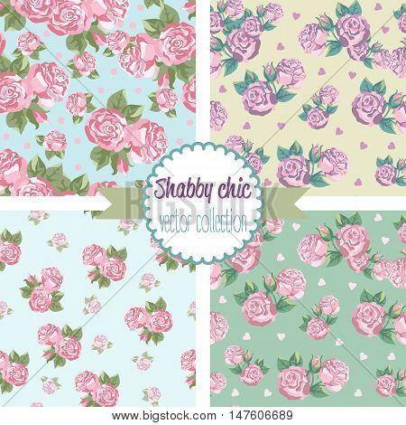 Shabby Chic Rose Patterns. Set seamless pattern. Vintage floral pattern, backgrounds. Vector illustration
