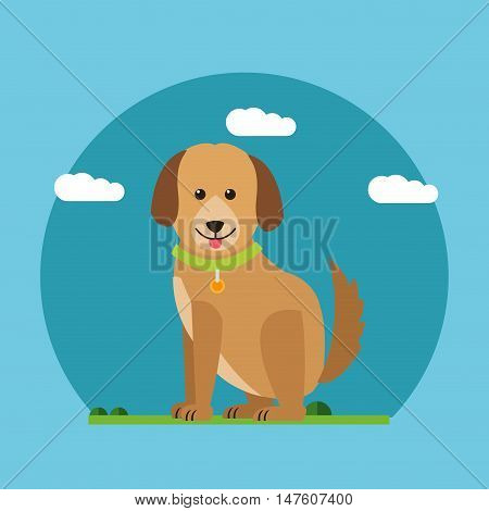 Dog and clouds icon. Animal pet happyness and nature theme. Colorful design. Vector illustration