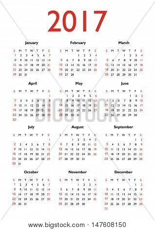 Calendar 2017 starting from Sunday. Vector illustration