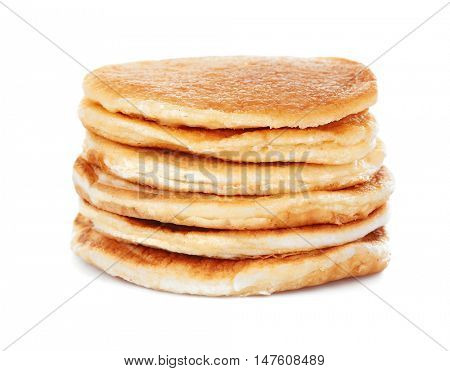 Tasty pancakes isolated on white