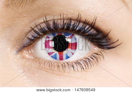 Flag of the Great Britain in beautiful female eye