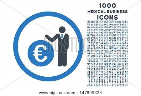Euro Economist rounded vector bicolor icon with 1000 medical business icons. Set style is flat pictograms, smooth blue colors, white background.