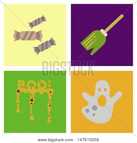assembly of flat icons halloween boo ghost candies Witch's broom