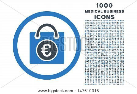 Euro Shopping Bag rounded vector bicolor icon with 1000 medical business icons. Set style is flat pictograms, smooth blue colors, white background.
