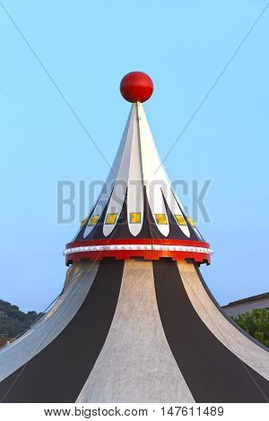 Circus Tent Marquee With Red Ball at Top