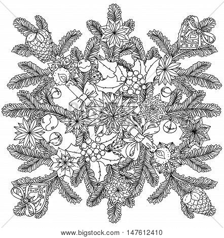 Art mandala style christmas ornament with decorative items, Black and white . Zentangle patters. The best for your design, textiles, posters, coloring book