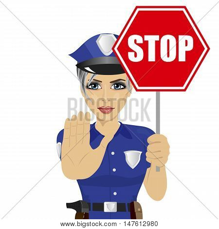 young policewoman holding stop sign and showing stop gesture over white background