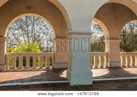 SAN DIEGO, CALIFORNIA - AUGUST 13, 2016: Arches of the Serra Mission Museum in Old Town, the former site of a fort and the first European settlement on the Pacific Coast, established in 1769.