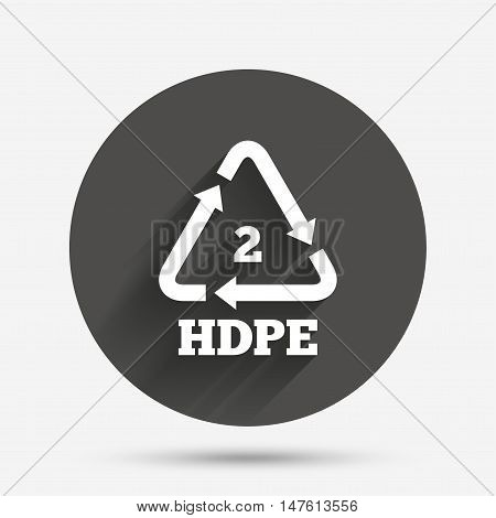 Pe-hd 2 icon. Polyethylene high-density sign. Recycling symbol. Circle flat button with shadow. Vector
