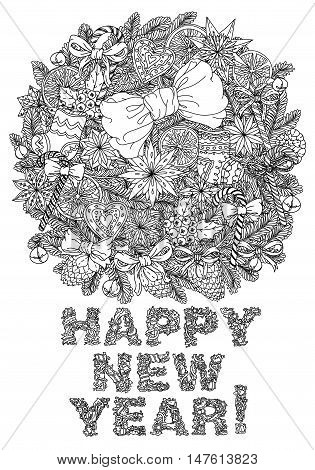 Vector doodle christmas Happy New Year, lettering Greeting Card design .Vector illustration. Hand drawn line illustration.Sketch for postcard or print or coloring adult anti stress book.Boho zen art style.