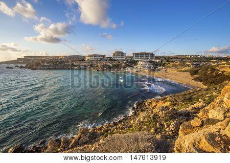 Malta - Golden Bay malta's most beautiful sandy beach at sunset