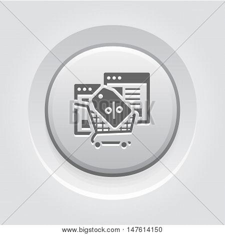 Discount Icon. Grey Button Design. Isolated Illustration. App Symbol or UI element. Web Pages with Popup Offer.