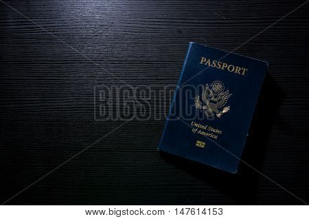 Travel Passport Booklet Cover United States American Black Contrast Desk Flash