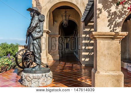 SAN DIEGO, CALIFORNIA - AUGUST 13, 2016: Soldier at the Mormon Battalion historic site in Old Town, honoring the Mormons soldiers who fought during the Mexican War in 1847.