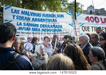 Buenos Aires Argentina - October 3 2013: People gathered in a demonstration of the Mothers of the Plaza de Mayo (