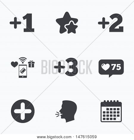 Plus icons. Positive symbol. Add one, two, three and four more sign. Flat talking head, calendar icons. Stars, like counter icons. Vector