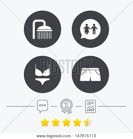 Swimming pool icons. Shower water drops and swimwear symbols. WC Toilet speech bubble sign. Trunks and women underwear. Chat, award medal and report linear icons. Star vote ranking. Vector