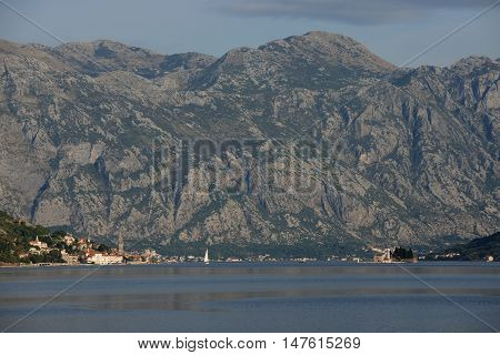 Landscape of Kotor bay in Montenegro with Benedictine abbey and church of Perast.
